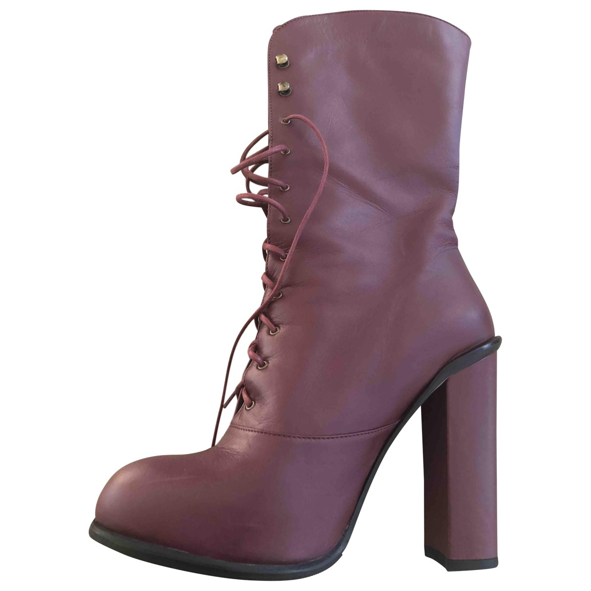 Opening Ceremony - Boots   pour femme en cuir - bordeaux
