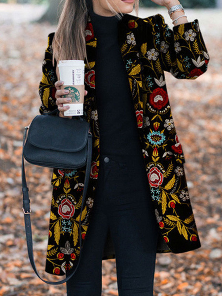 Milanoo Women Winter Coats Black Turndown Collar Long Sleeve Flowers Embroidered Coat
