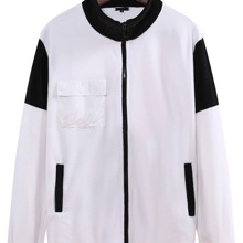 Men Contrast Panel Pocket Front Zip Up Jacket