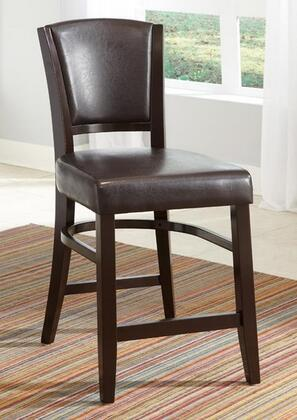 103689BRN Dining 1036 Vinyl Upholstered Counter Stool with Stretchers and Tapered Legs in