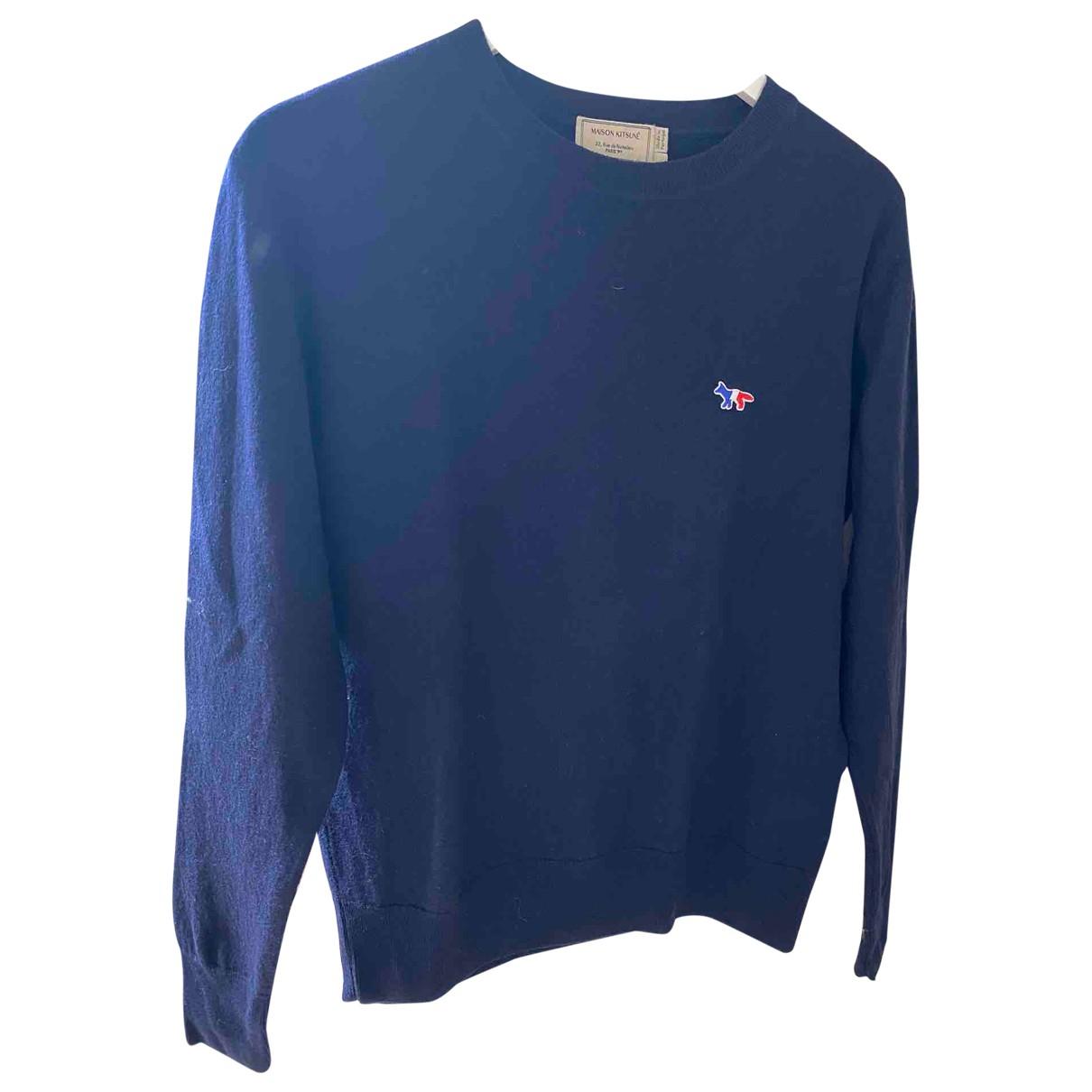Maison Kitsune - Pull   pour femme en laine - bleu