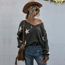 V-neck Star Print Batwing Sleeve Sweater