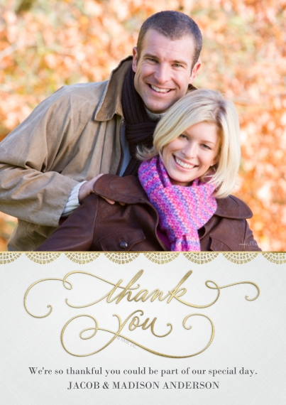 Wedding Thank You Flat Matte Photo Paper Cards with Envelopes, 5x7, Card & Stationery -Gold Scallop Thank You