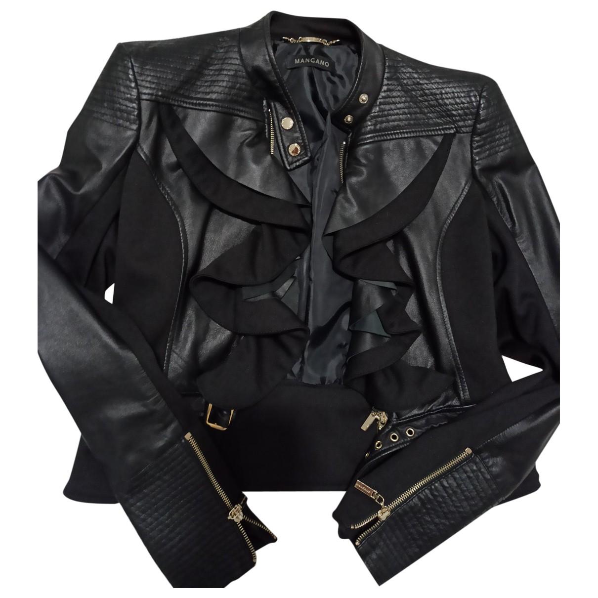 Mangano \N Black Leather Leather jacket for Women 46 FR
