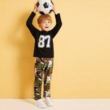 Toddler Boys Number Print Tee With Camo Pants
