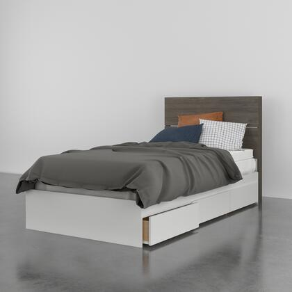 402369 Milton 2 Piece Twin Size Bed with Storage Platform Bed + Headboard  in Bark Grey Laminate And White