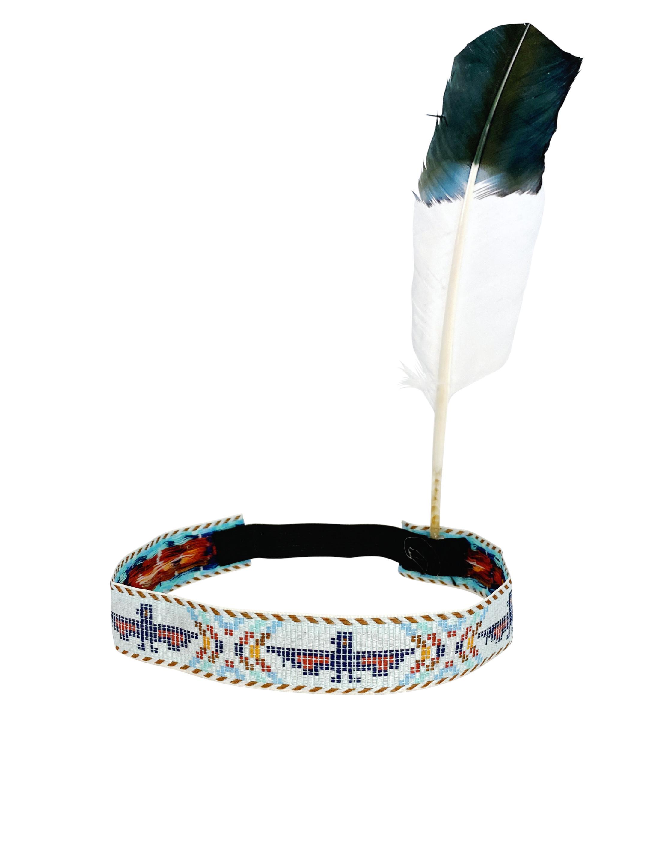 Kostuemzubehor Indianerstirnband mit Feder weiss und Spitze schwarz