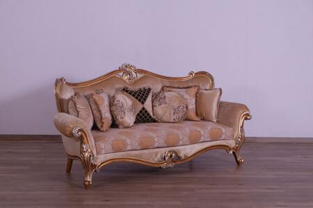 Augustus Collection Luxury Sofa  Hand Made and Hand Carved  Seat Cushion Reversible  Pillows Includes  in Parisian Brown Light Gold and Antique