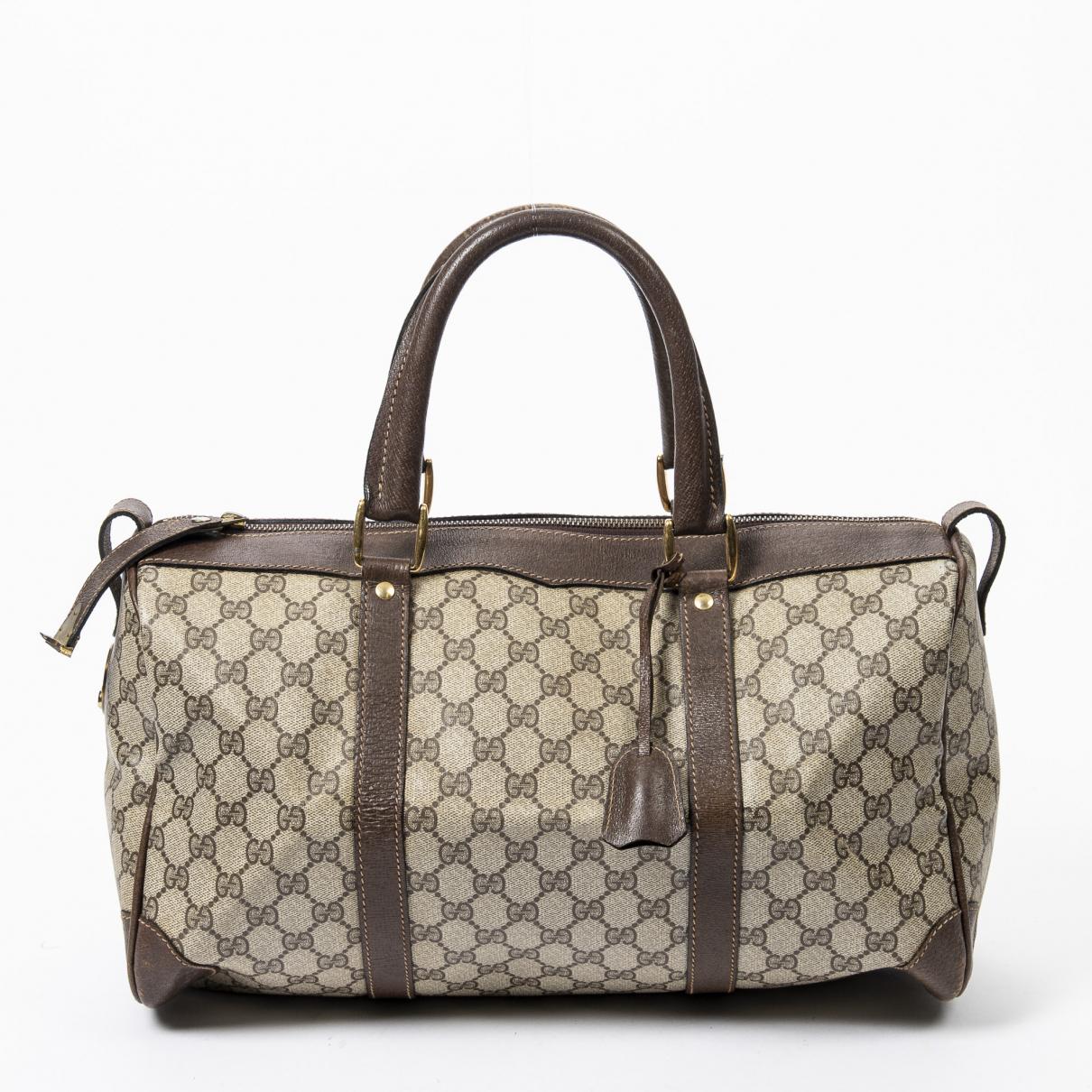 Gucci Boston Reisetasche in  Braun Leder
