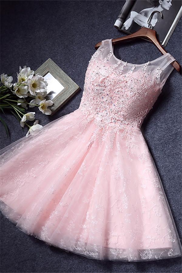 Appliques de dentelle rose sans manches robes de retour courtes robes de soiree une ligne avec baguettes