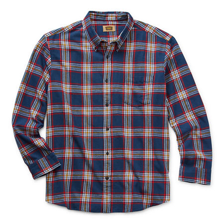 The Foundry Big & Tall Supply Co. Big and Tall Mens Long Sleeve Flannel Shirt, 4x-large Tall , Blue