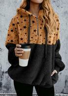 Star Pocket Zipper Drawstring Fleece Hoodie - Black