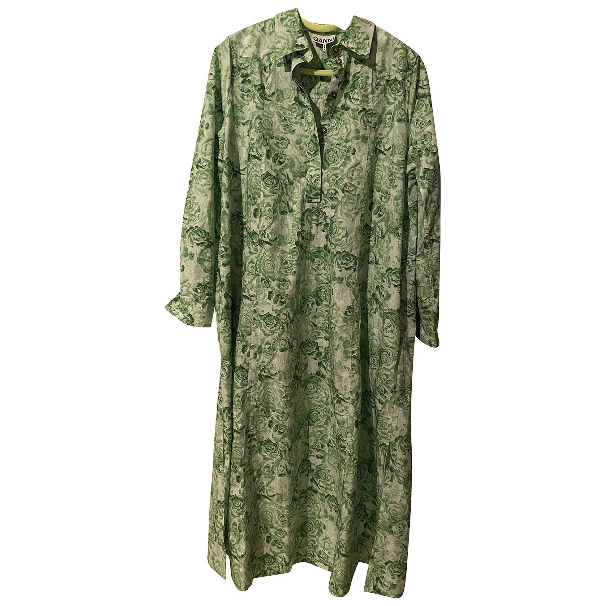 Ganni Fall Winter 2019 Kleid in  Gruen Baumwolle
