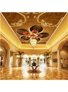 3D Floral Pattern on Orange Background PVC Waterproof Sturdy Eco-friendly Self-Adhesive Ceiling Murals