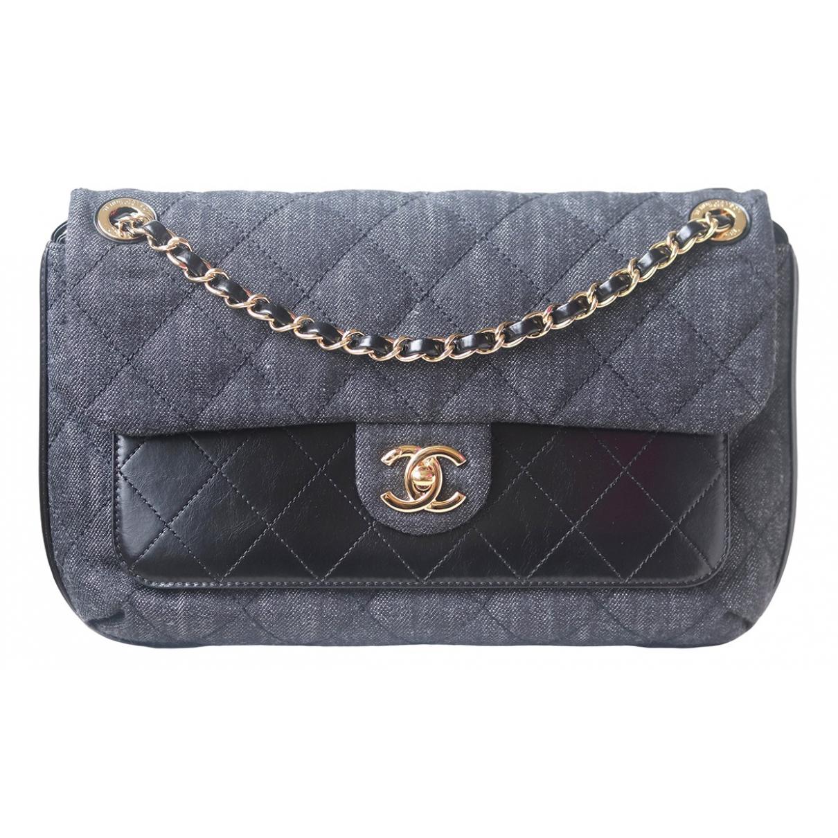 Chanel \N Handtasche in  Schwarz Denim - Jeans