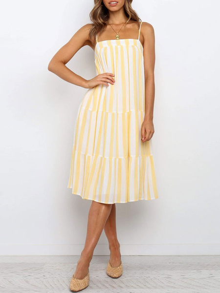 Milanoo Stripe Summer Dresses Women Sleeveless Sundress
