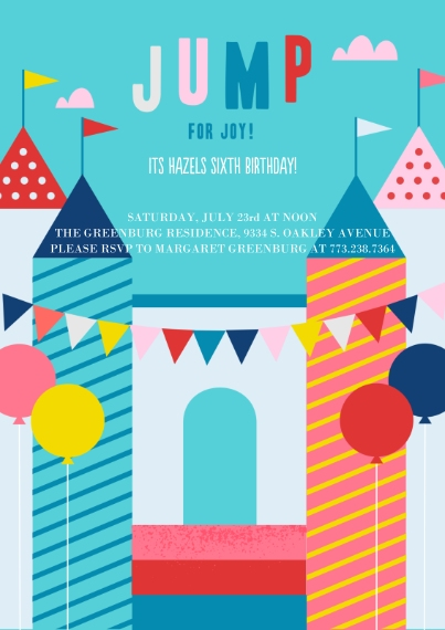 Kids Birthday Party Invites 5x7 Cards, Standard Cardstock 85lb, Card & Stationery -Jump For Joy Invite