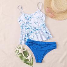 Bikini Badeanzug mit Marmor Muster und Raffungsaum