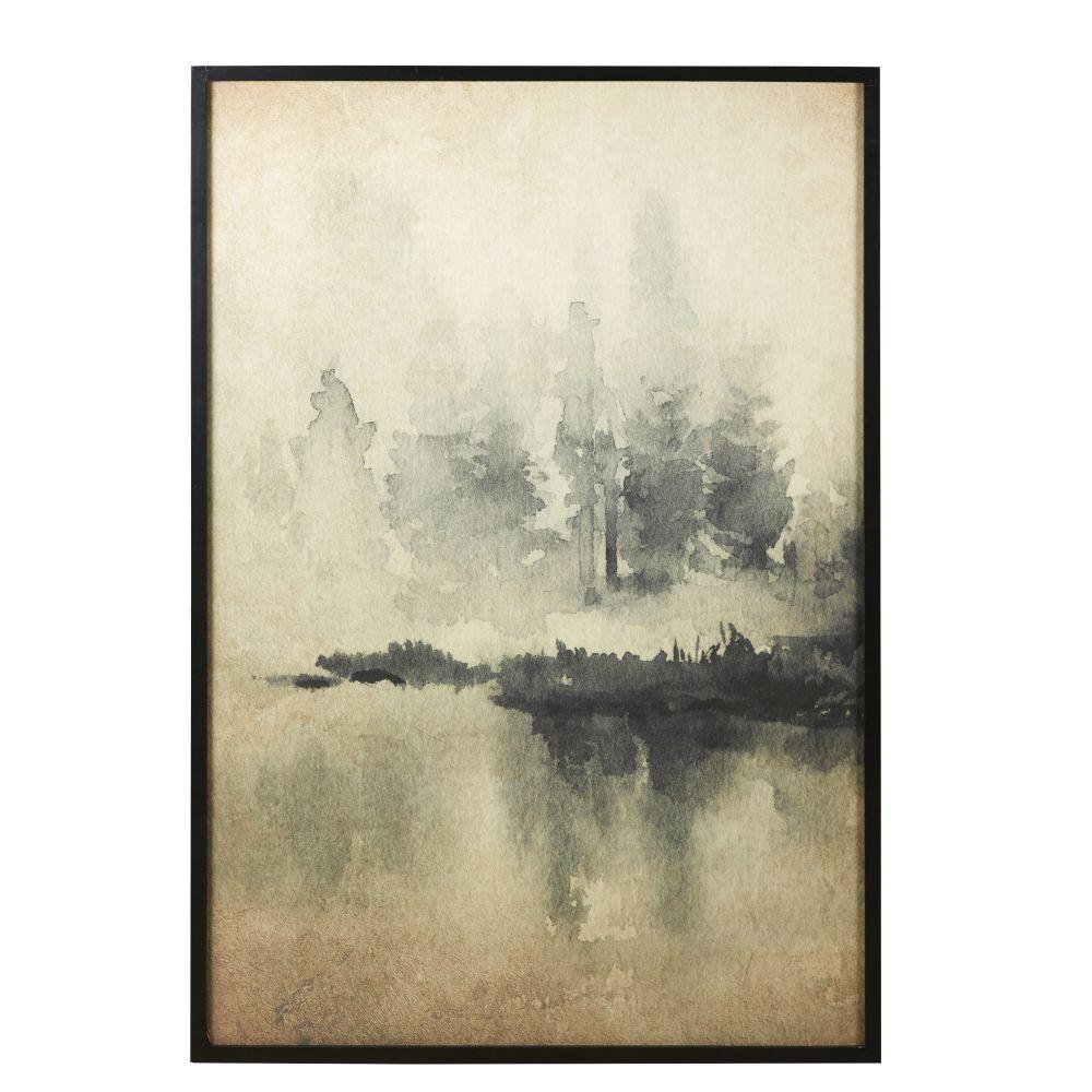 Wanddeko aus Reispapier mit Landschaftsaufdruck 90x130