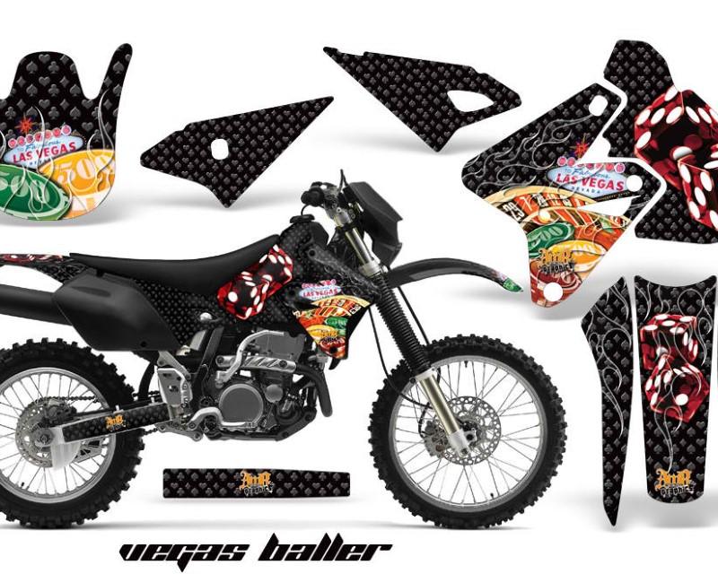 AMR Racing Dirt Bike Graphics Kit Decal Sticker Wrap For Suzuki DRZ400S 2000-2018áVEGAS BLACK
