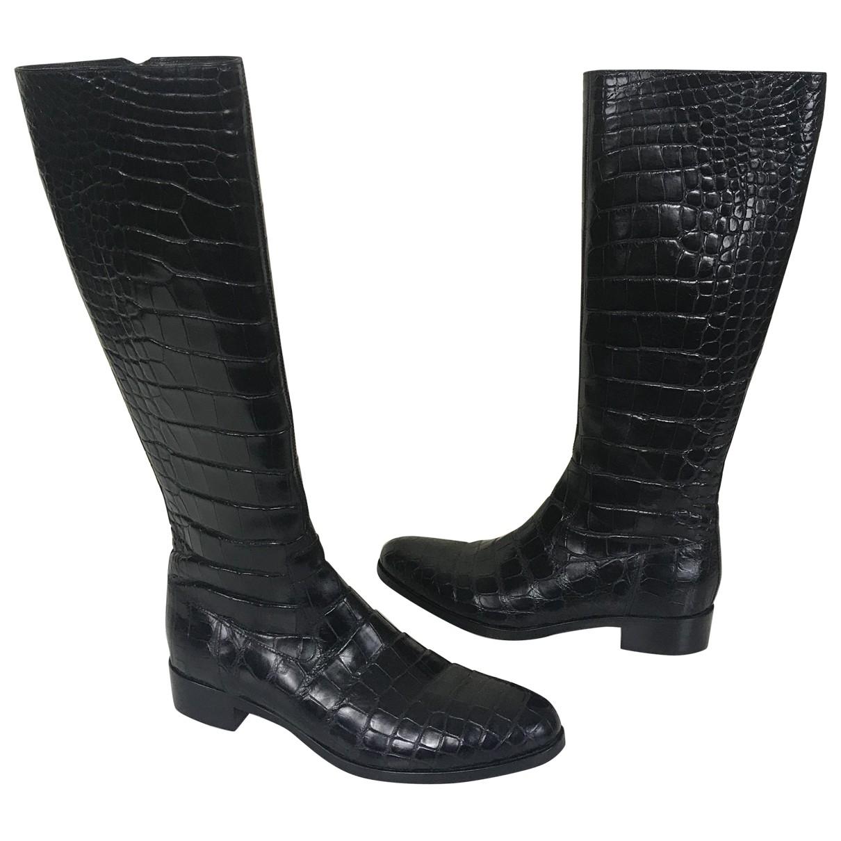 Prada - Bottes   pour femme en alligator - noir