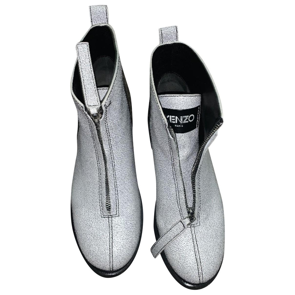 Kenzo - Bottes   pour femme en cuir - blanc