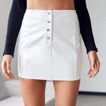 PU Single Breasted Mini Skirt