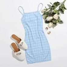 Figurbetontes Kleid mit Karo Muster