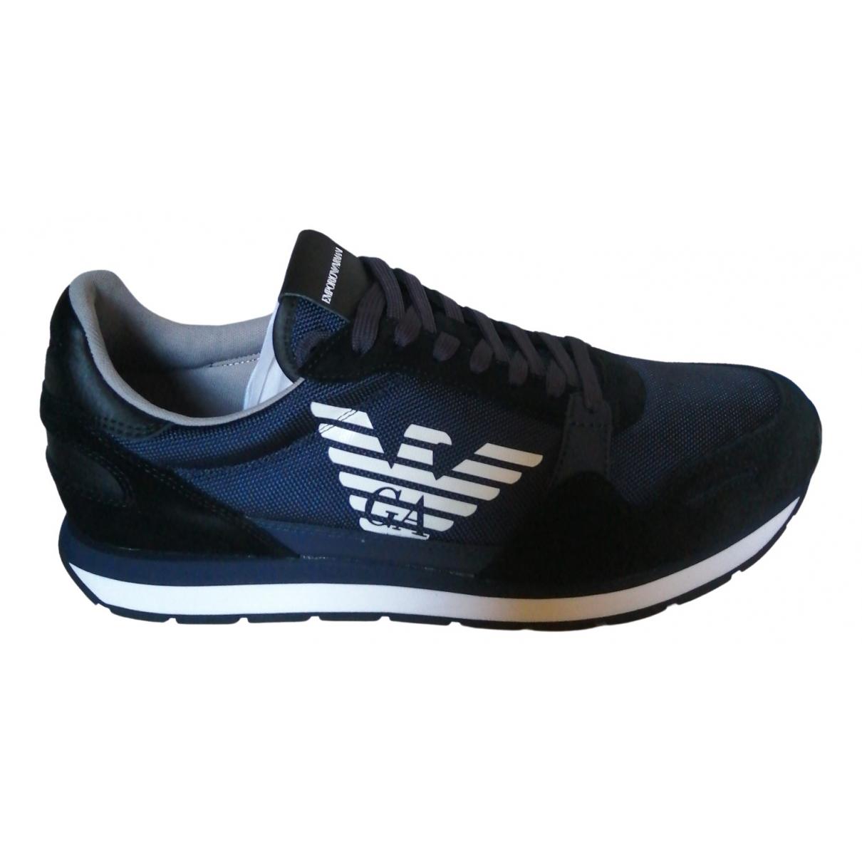 Emporio Armani \N Sneakers in  Blau Leder