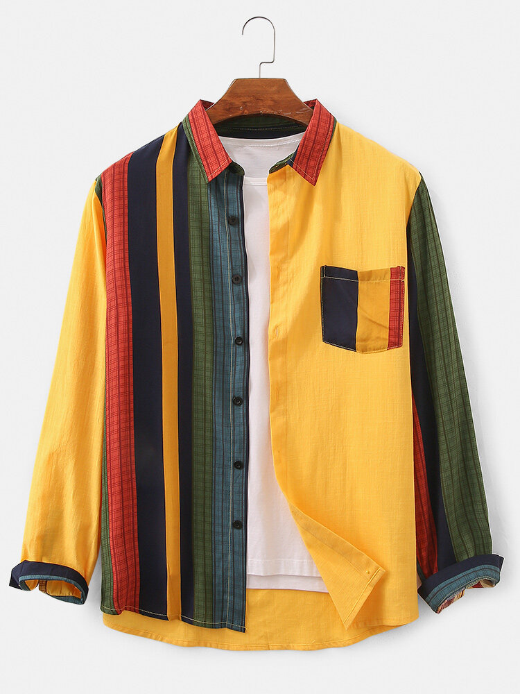 Mens Design Striped Patchwork 100% Cotton Breathable Long Sleeve Shirt