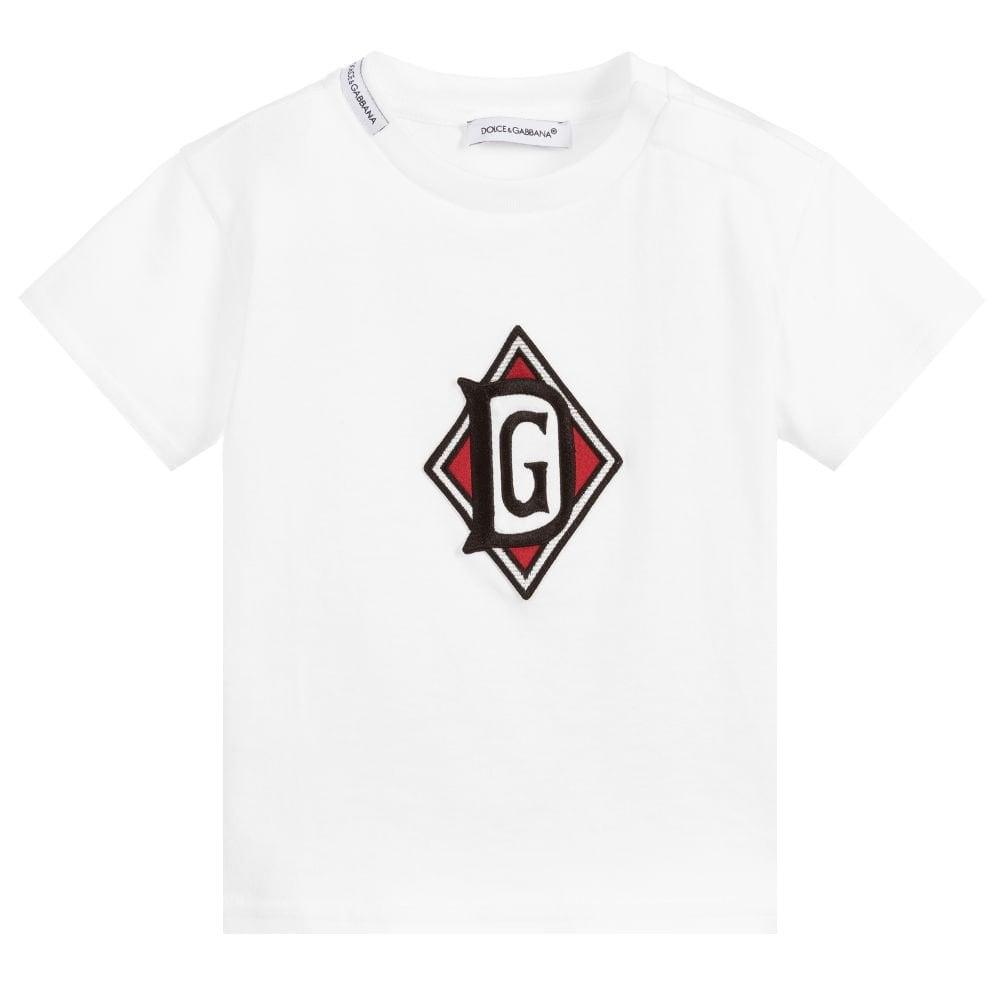 Dolce & Gabbana Baby Boy Cotton T-shirt Colour: WHITE, Size: 18/24
