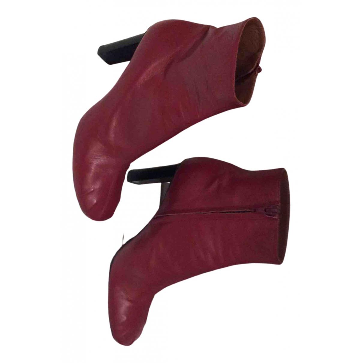 Joseph - Boots   pour femme en cuir - rouge