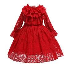 Girls Layered Ruffle Bow Back Lace Gown Dress