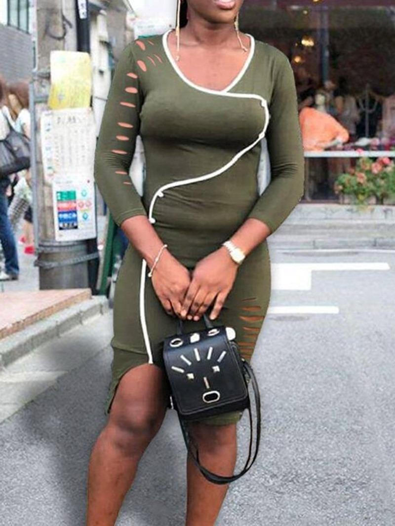 Ericdress Split Knee-Length Nine Points Sleeve Fall Pullover Dress