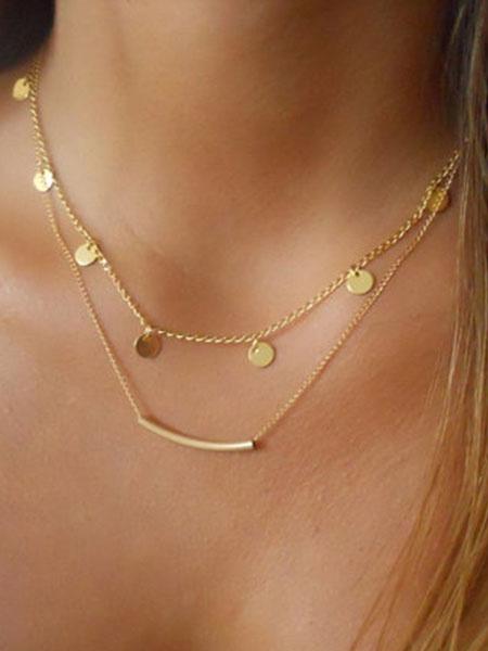Milanoo Women Golden Necklace Metal Detail Alloy Layered Necklace