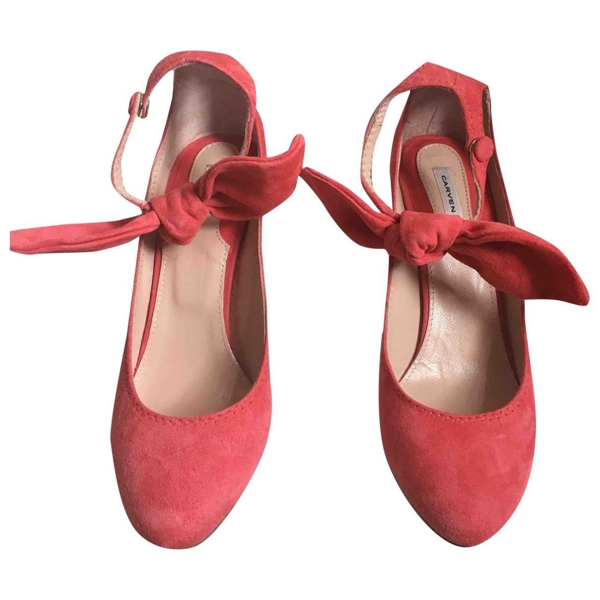 Carven \N Pink Suede Heels for Women 38 EU