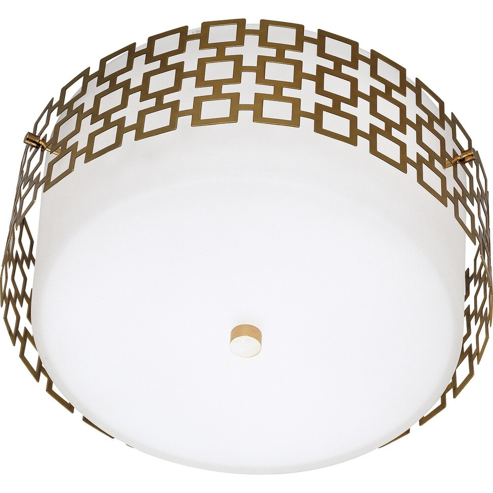 Robert Abbey 664 Three Light Flushmount Jonathan Adler Parker Antique Brass - One Size (One Size - Clear)