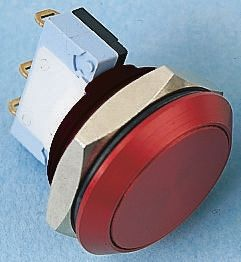 APEM Single Pole Double Throw (SPDT) Momentary Push Button Switch, IP65, 22.2 (Dia.)mm, Panel Mount, 250V ac