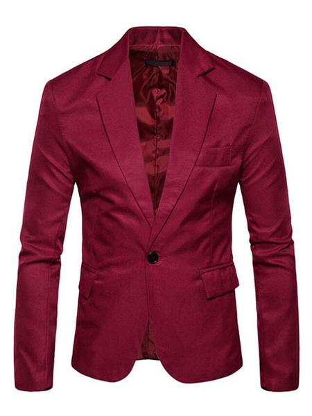 Milanoo Men Casual Blazer Notch Collar One Button Pocket Slim Fit Blazer Jacket