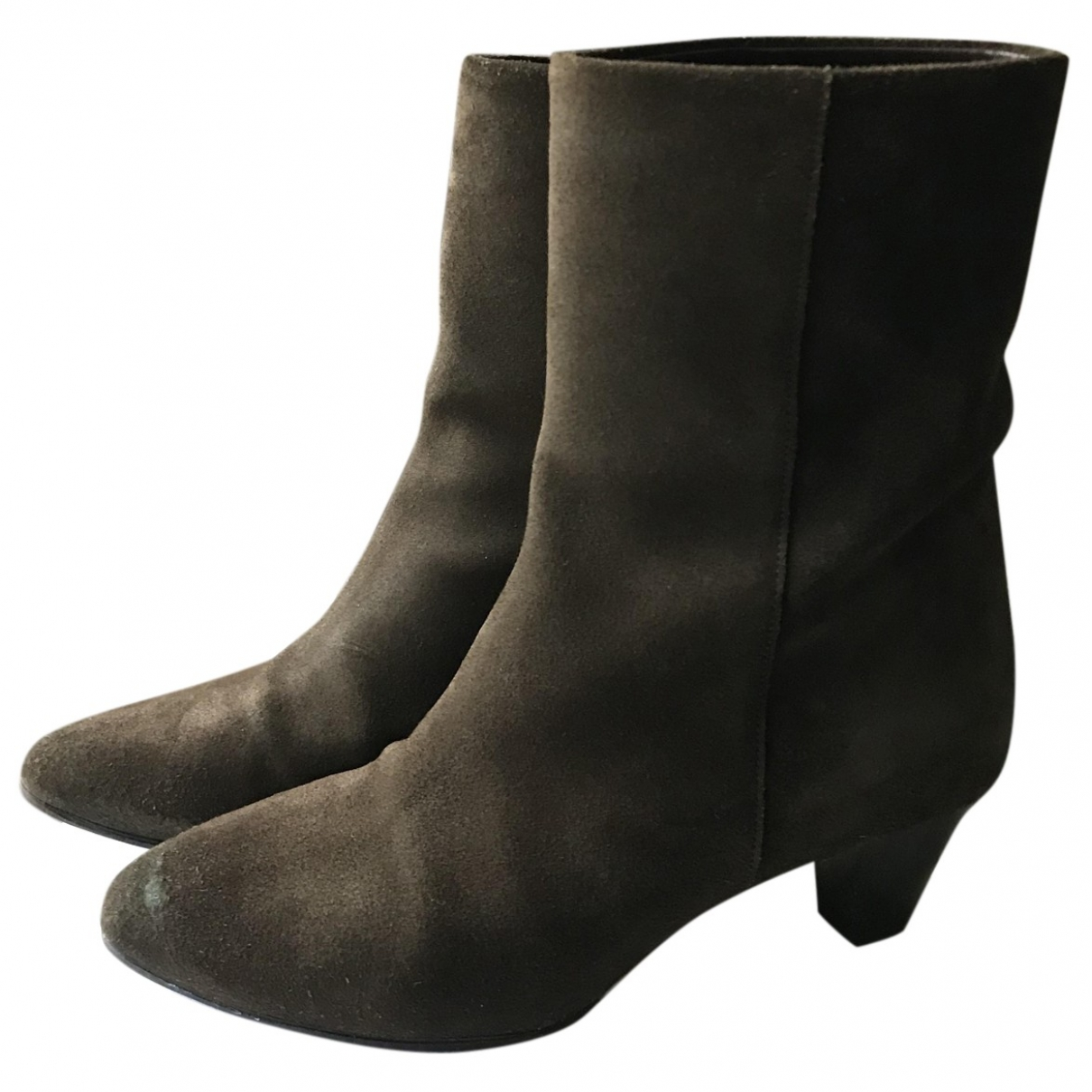 Isabel Marant Dyna Khaki Leather Ankle boots for Women 37 EU