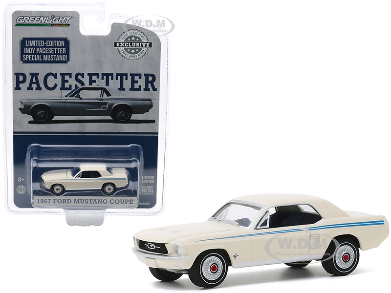 1967 Ford Mustang Coupe Wimbledon White with Scotchlite Blue Stripes Indy Pacesetter Special Hobby Exclusive 1/64 Diecast Model Car by Greenlight