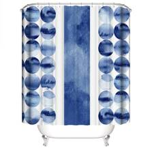 Graphic Print Shower Curtain With 12hooks