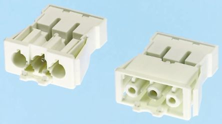 Wieland GST18 Series, Male 3 Pole Connector, Panel Mount, Rated At 16A, 250 V, White (5)