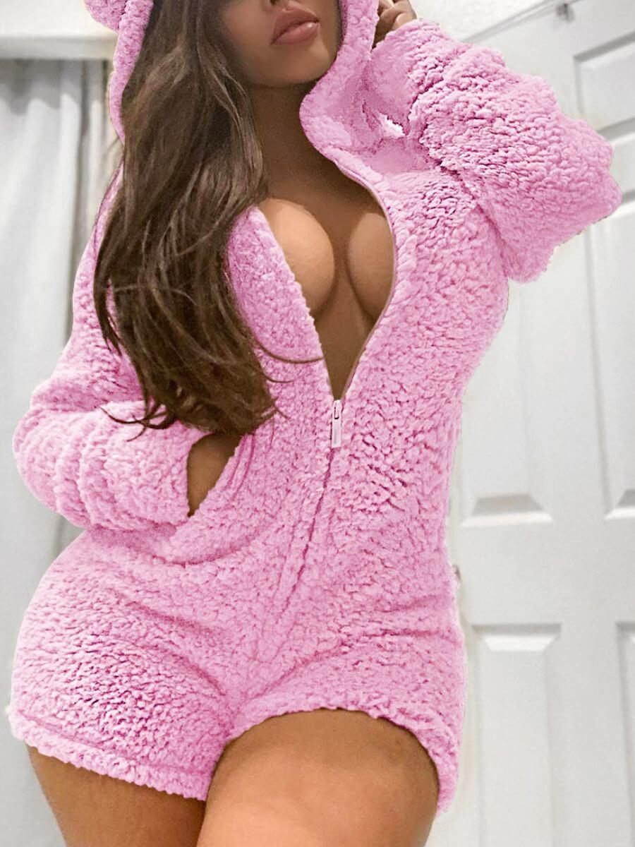 LW Lovely Sweet Hooded Collar Pink Sleepwear