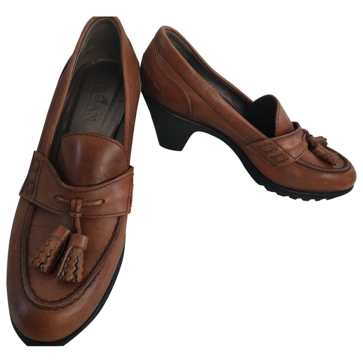 Hogan - Mocassins   pour femme en cuir - marron