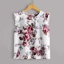 Plus Floral Print Ruffle Armhole Top