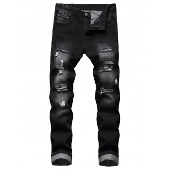 Destroy Wash Long Zip Fly Jeans