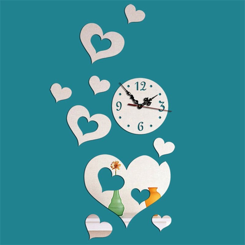 Creative Love Heart Pattern 3 Color Simple Design 3D Acrylic Specular Mute Wall Clock