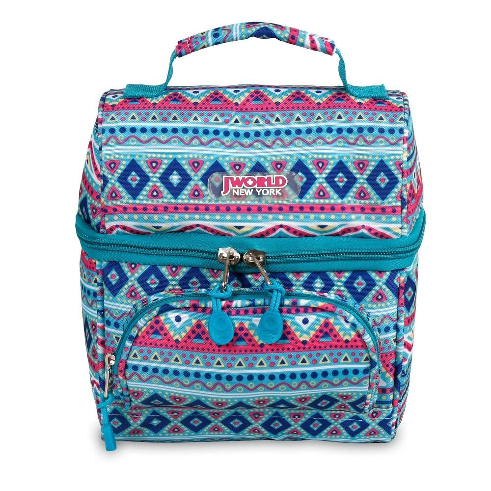 J World New York Corey Lunch Bag - Mint Tribal (Blue - Lightweight - Polyester - Convertible - Artisan)