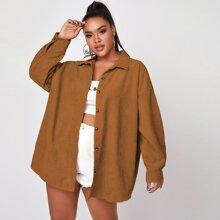 Plus Corduroy Drop Shoulder Button Up Coat